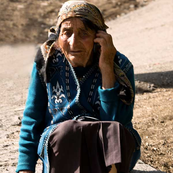 Elderly lady on mobile